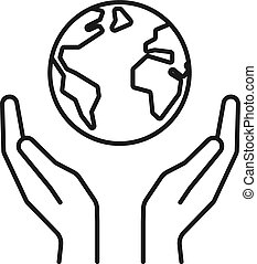 Isolated black outline icon of planet, earth in hands on white background. Line icon of globe and hands. Symbol of care, protection. Save planet.