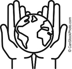 Isolated black outline icon of planet, earth in open hands on white background. Line icon of globe and hands. Symbol of care, protection. Save planet.