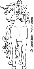 Isolated black outline standing unicorn on white background. Front view. Curve lines. Page of coloring book.