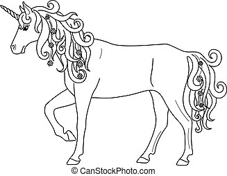 Isolated black outline standing unicorn on white background. Side view. Curve lines. Page of coloring book.