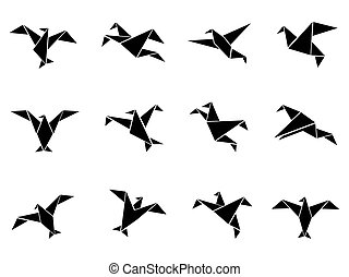 black paper birds icons set