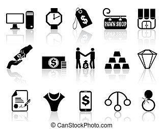 pawn shop icons set - isolated black pawn shop icons set...