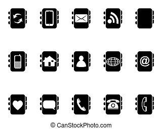 black phone address book icons