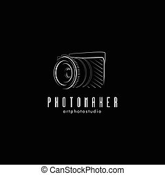 Isolated black photo camera vector illustration. Photographer equipment logo.