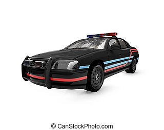 isolated black police car front view - isolated police car...