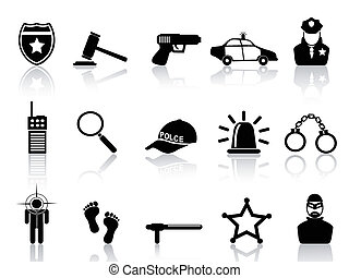 police icons set - isolated black police icons set from ...