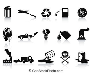 black pollution icons set
