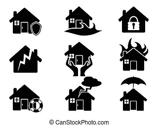 Property insurance icons set - isolated black Property...