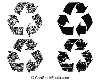 black recycling symbol