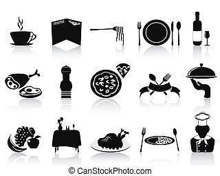 black restaurant icons set