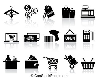 black retail and shopping icons set - isolated black retail ...