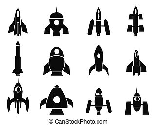 isolated black rocket icons from white background