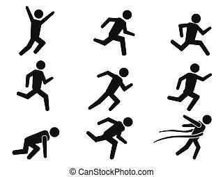 runner stick figure icons set - isolated black runner stick...