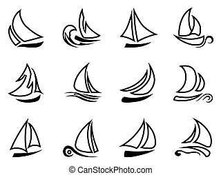 black sailboat outline icons