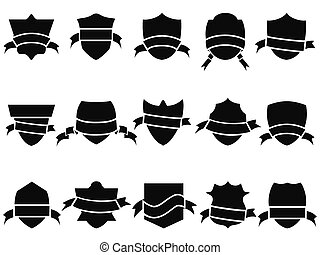 black shield and ribbon icons set