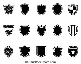 shield icons - isolated black shield icons on white ...
