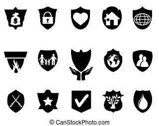 black shield protect icons set