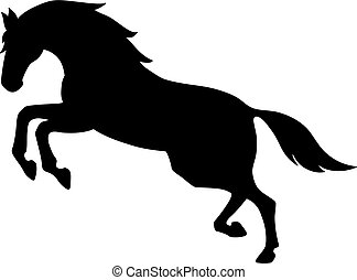 Isolated black silhouette of galloping, jumping horse on white background. Side view.
