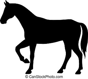 Isolated black silhouette of standing horse on white background. Side view.