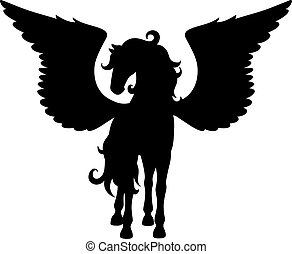 Isolated black silhouette of standing pegasus on white background. Front view.
