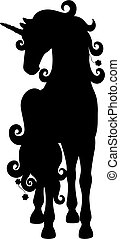 Isolated black silhouette of standing unicorn on white background. Front view.