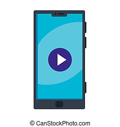 Isolated black smartphone with play icon vector design