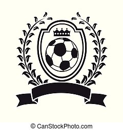 soccer with shield wreath banner logo