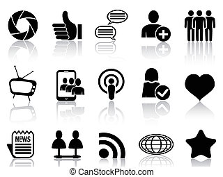 Social Networking and communication - isolated black Social ...