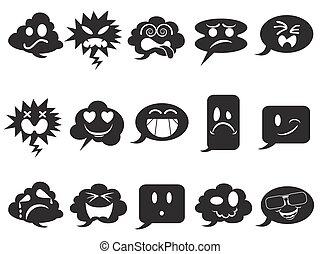 black speech bubble smileys icons