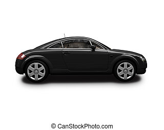 isolated black sport car on white background