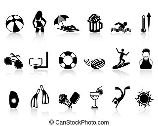 isolated black summer heat icons set on white background