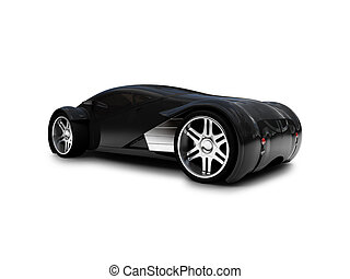 isolated black super car back view