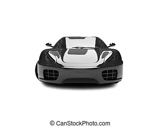 isolated black super car front view 02