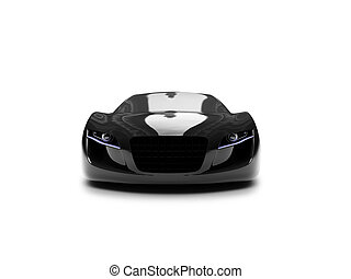 isolated black super car front view 03 - black car on a ...