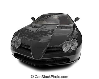 isolated black super car front view
