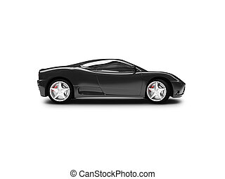 isolated black super car side view - black super car on a ...