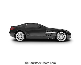 isolated black super car side view - black car on a white...