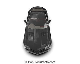 isolated black super car top view