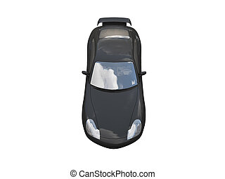 isolated black super car top view - isolated black car on a ...