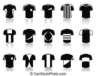 black t-shirt soccer clothing icons set - isolated black...