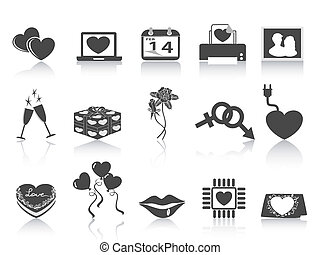 black Valentine's day icons