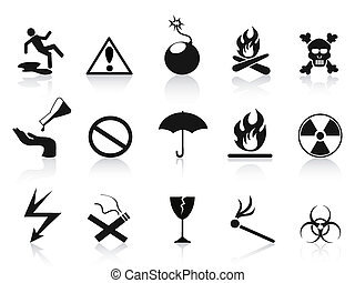 black warning icons set - isolated black warning icons set...