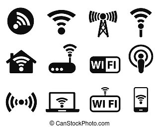 wifi icons set - isolated black wifi icons set from white...