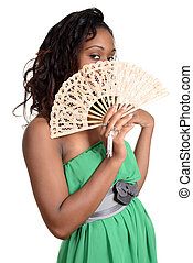Black woman with fan