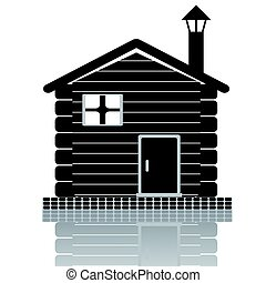 wooden house icon - isolated black wooden house icon on ...