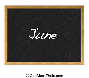 June. - Isolated blackboard with June.