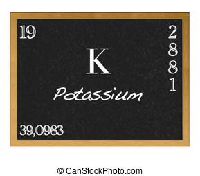 Potassium. - Isolated blackboard with periodic table,...