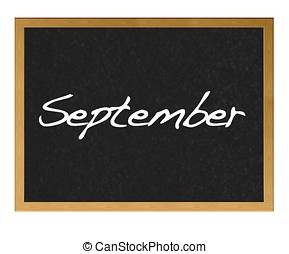 September. - Isolated blackboard with September.