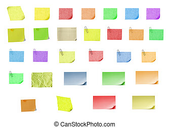 isolated blank color paper post it or postit where you can write or edit easily