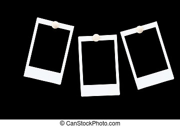 isolated blank polaroids frames on black background